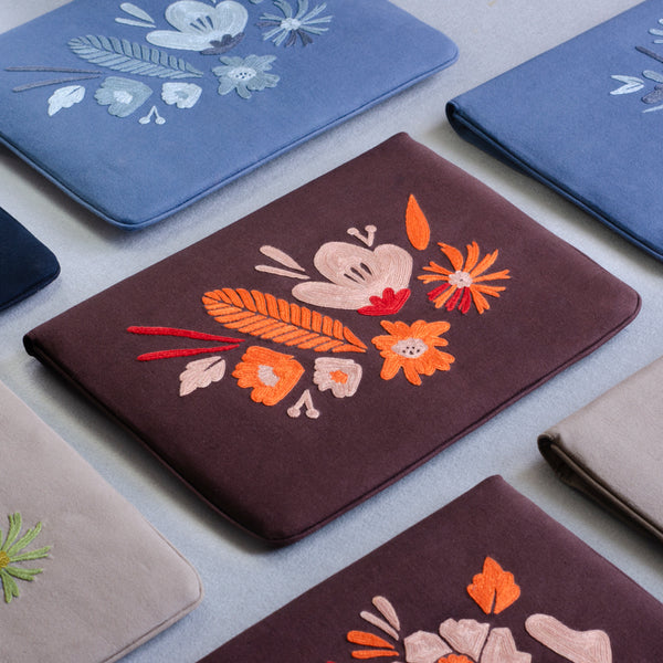 Bouquet Series - Laptop Sleeve (Dark Brown 2) - Made in Kashmir