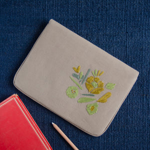 Bouquet Series - Mini-Tablet Sleeve (Light Brown 1) - Made in Kashmir