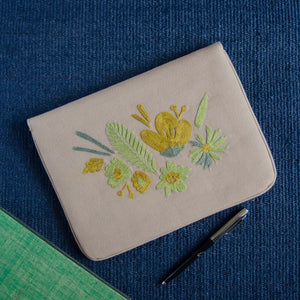 Bouquet Series - Mini-Tablet Sleeve (Light Brown 2) - Made in Kashmir