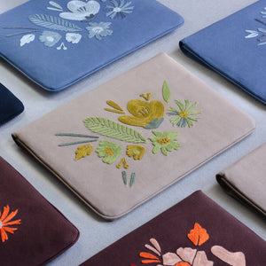 Bouquet Series - Laptop Sleeve (Light Brown 2) - Made in Kashmir