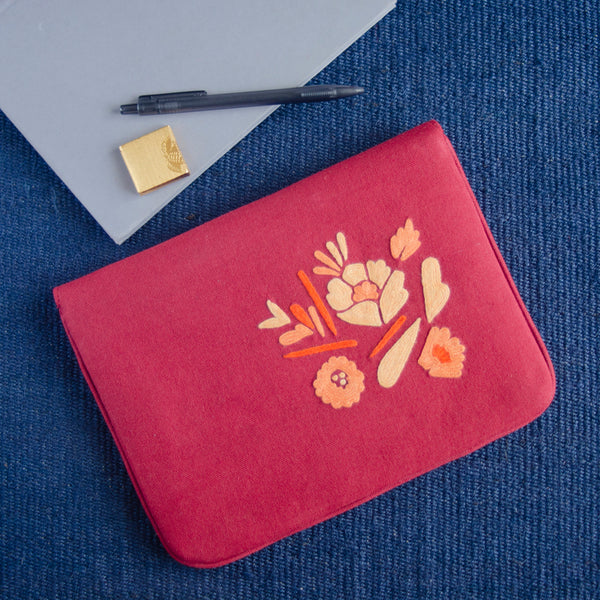 Bouquet Series - Mini-Tablet Sleeve (Coral 1) - Made in Kashmir