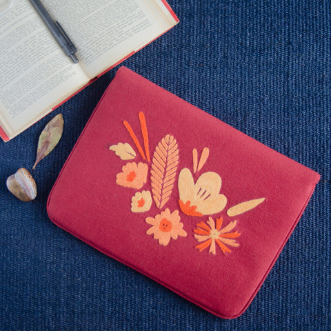 Bouquet Series - Mini-Tablet Sleeve (Coral 2) - Made in Kashmir