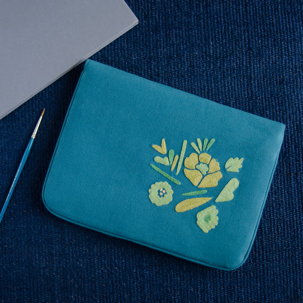 Bouquet Series - Mini-Tablet Sleeve (Teal 1) - Made in Kashmir