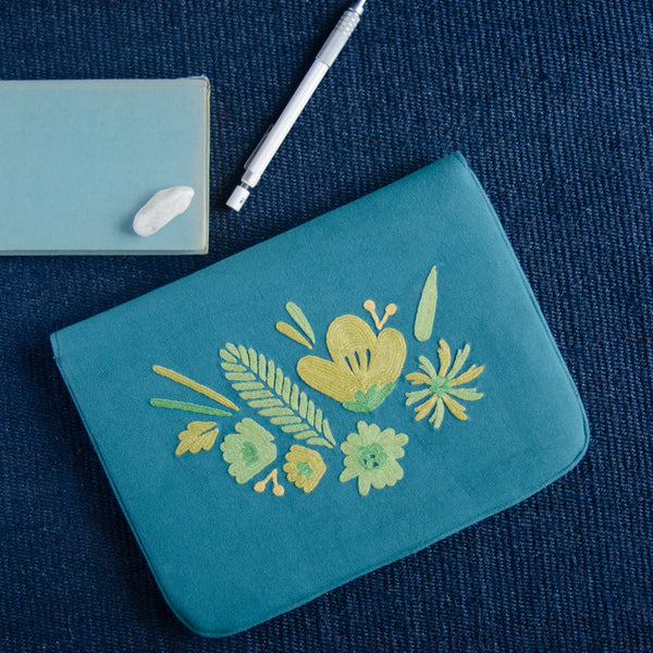 Bouquet Series - Mini-Tablet Sleeve (Teal 2) - Made in Kashmir