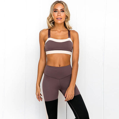 ensemble legging brassiere marron