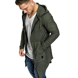 Men Splicing Hooded Solid Trench Coat
