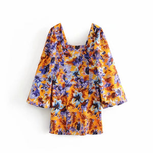 Summer vintage floral print boho dress women