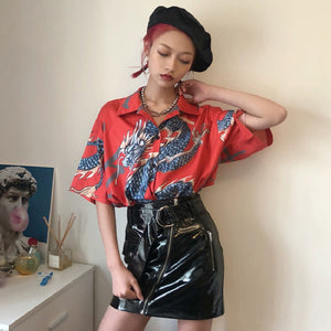 Women Dragon Print Short Sleeve Blouses Shirts