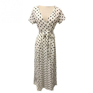 Summer Long Red White Dot Beach Dress