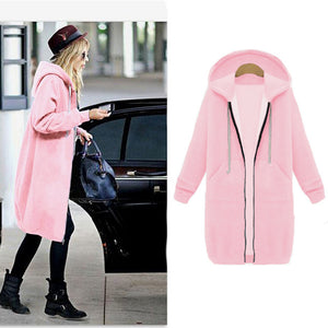 Women Casual Long Zipper Hooded Jacket Hoodies