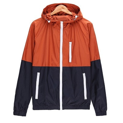 New Arrival Hooded Contrast Color Zipper up Jackets