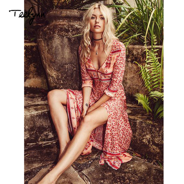 long Boho dress rayon 2019 Floral print sexy