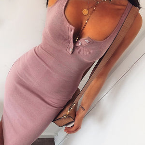 Summer Sexy V-Neck Button Party Slim Dresses