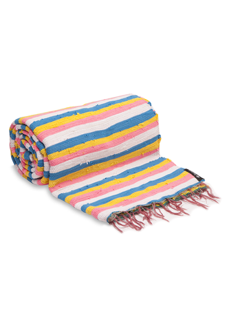 Pink Mixed Stripy Throw