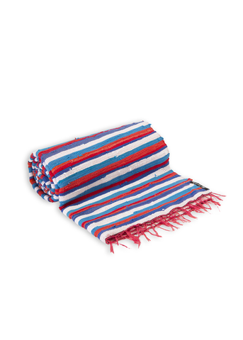 Aqua Blue & Red Stripy Throw