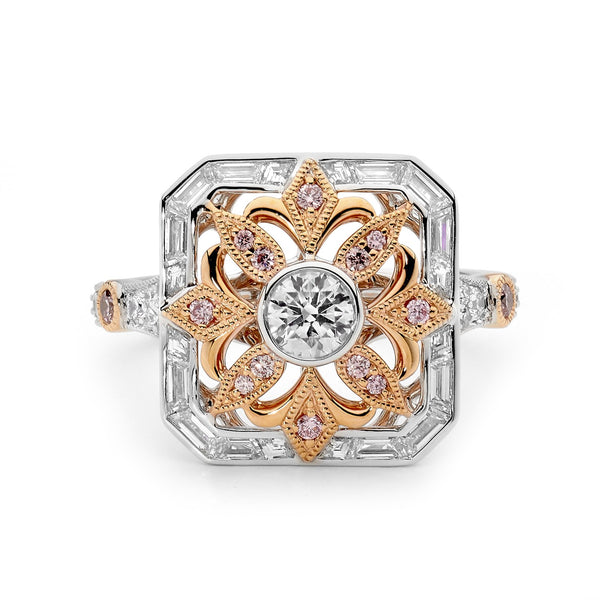 ART DECO PINK AND WHITE DIAMOND RING
