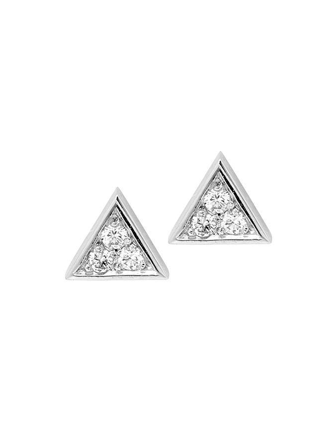 WHITE GOLD DIAMOND TRIANGLE STUD PAIR