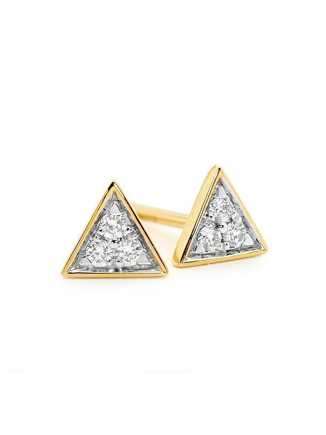YELLOW GOLD TRIANGLE STUD PAIR