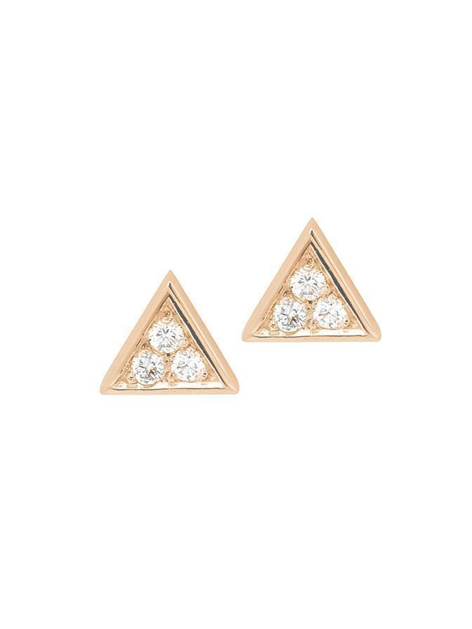 ROSE GOLD TRIANGLE STUD PAIR