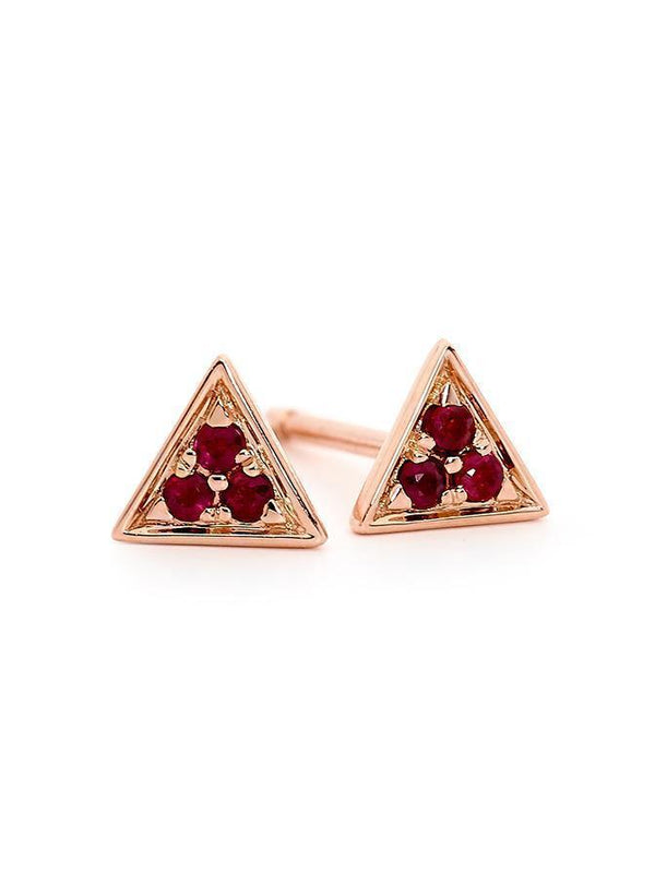 ROSE GOLD RUBY TRIANGLE STUD PAIR