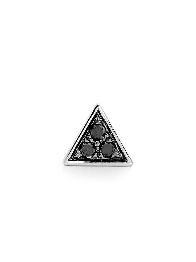 WHITE GOLD BLACK DIAMOND TRIANGLE STUD SINGLE