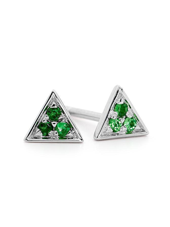 WHITE GOLD GREEN GARNET TRIANGLE STUD PAIR