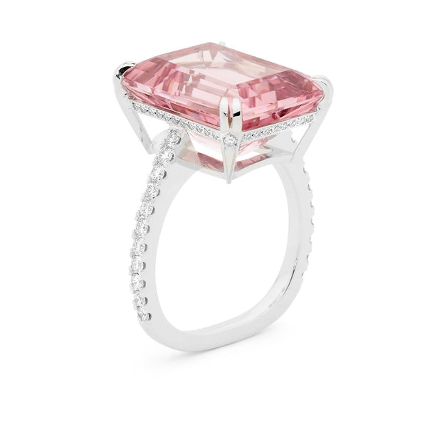 HANDCRAFTED MORGANITE AND DIAMOND RING