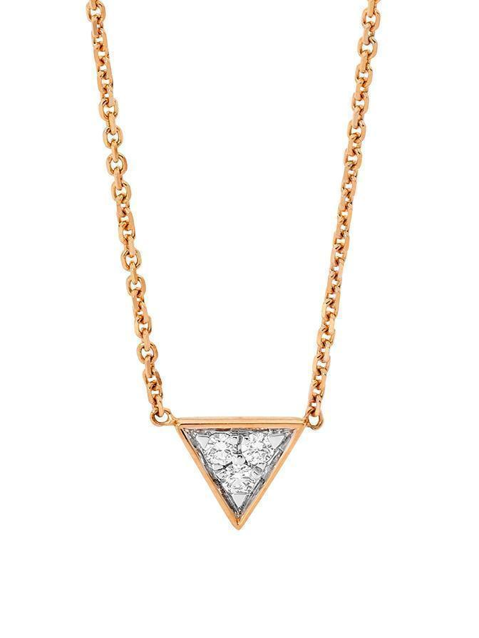 MINIMAL ROSE GOLD TRIANGLE PENDANT WITH WHITE DIAMONDS