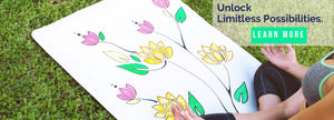 DIYogi white personalised yoga mat with mandalas and flowers drawn on it