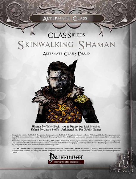 CLASSifieds: Skinwalking Shaman (Druid Alternate Class)