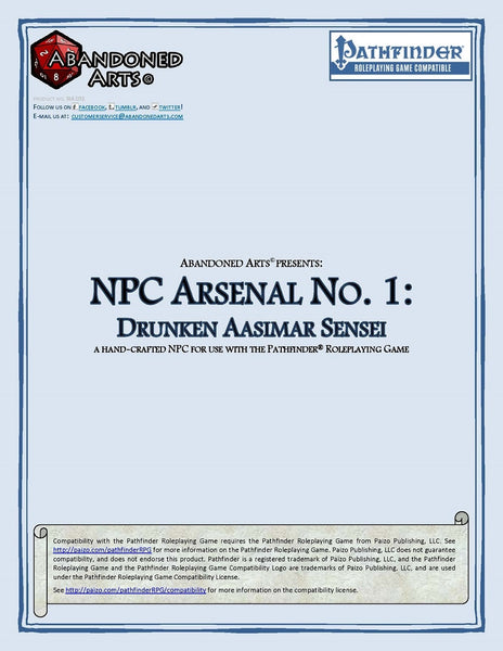 NPC Arsenal No. 1: Drunken Aasimar Sensei