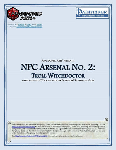 NPC Arsenal No. 2: Troll Witchdoctor