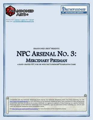 NPC Arsenal No. 3: Mercenary Pikeman