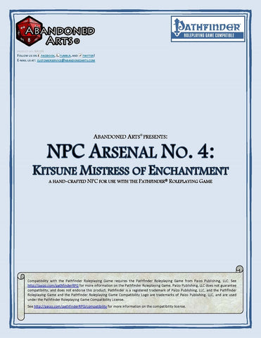 NPC Arsenal No. 4: Kitsune Mistress of Enchantment