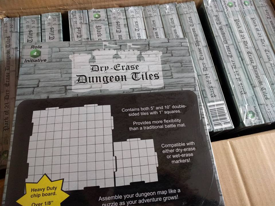 "Dry Erase Dungeon Tiles (5 10"" tiles and 16 5"" tiles)"