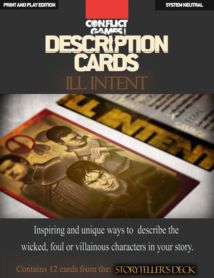 Description Cards - Storytellers Deck - ILL INTENT Excerpt