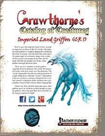 Crawthorne's Catalog of Creatures Imperial Land Griffon for Pathfinder