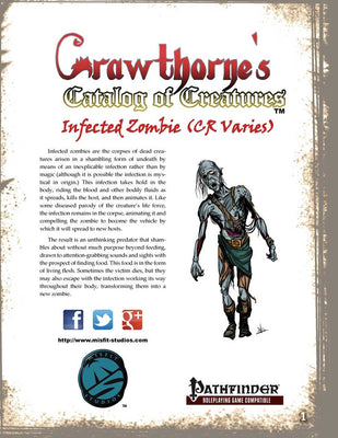 Crawthorne's Catalog of Creatures Infected Zombie for Pathfinder