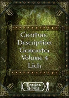 Creature Description Generator Volume 4 - Lich