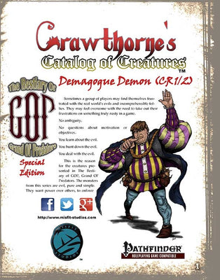 Crawthorne's Catalog of Creatures: Demagogue Demon a.k.a. Tr'ump