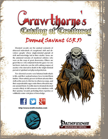 Crawthorne's Catalog of Creatures: Doomed Savant