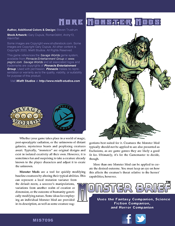 Monster Brief: More Monster Mods for Savage Worlds