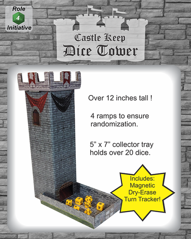 Castle Keep Dice Tower with Dry Erase Magnetic Turn Tracker