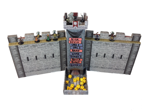 Castle Keep Dice Tower and Castle Wall DM Screens with Dry Erase Magnetic Turn Trackers