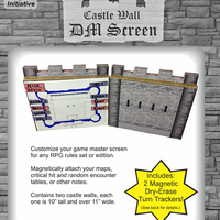Medieval Castle Wall DM Screen with Magnetic Initiative Turn Tracker [Pack of 2]