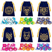 Complete Double-Colors Dice Sets with Blue Drawstring Pouch