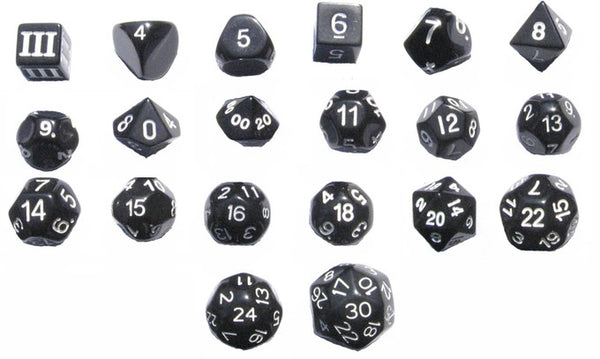 20 Unusual RPG Dice - D3 to D30