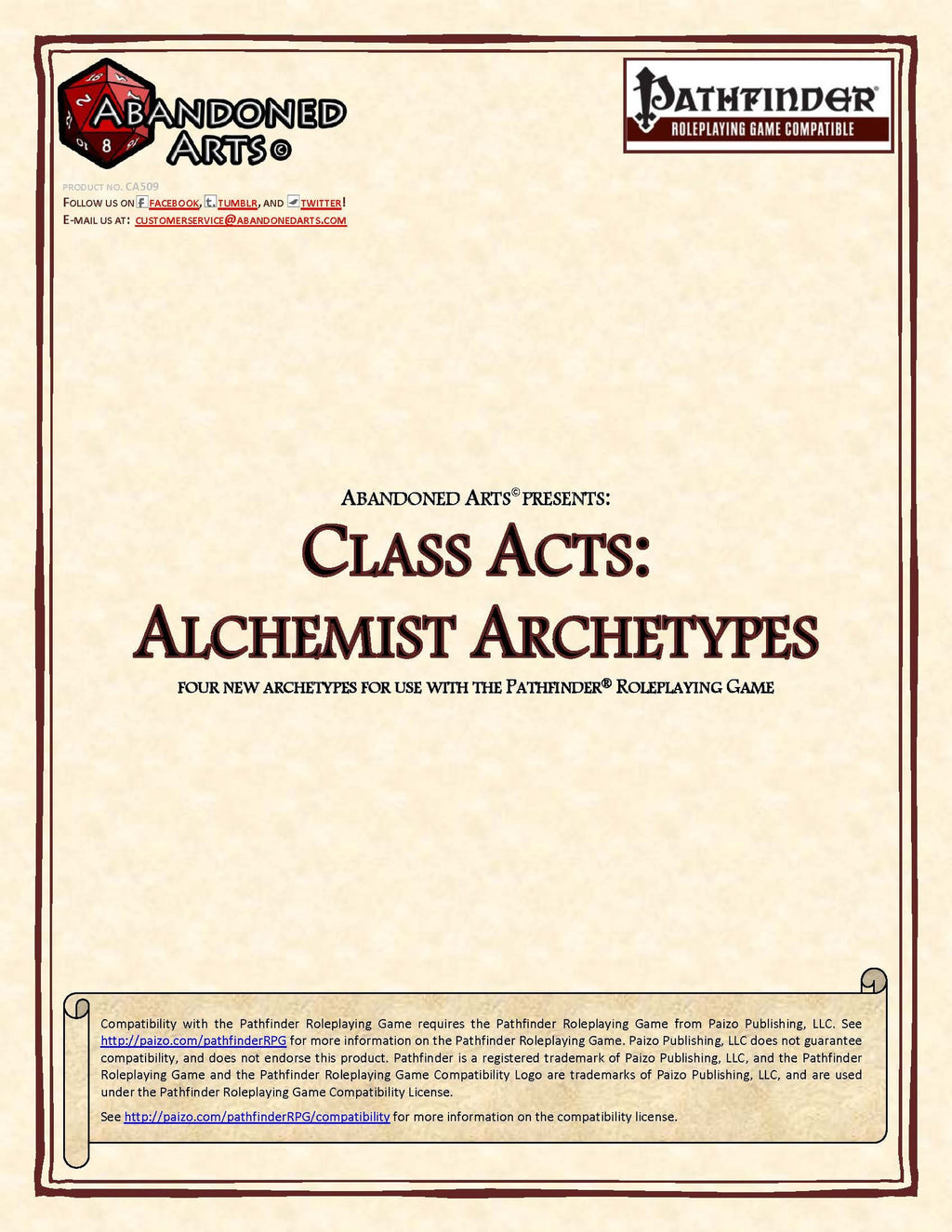 Class Acts: Alchemist Archetypes