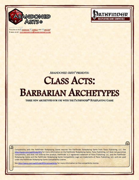 Class Acts: Barbarian Archetypes