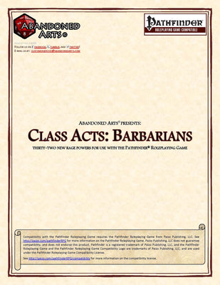 Class Acts: Barbarians
